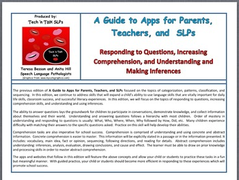 Apps for Parents, Teachers, SLPs:  Responding to ?s, Compr