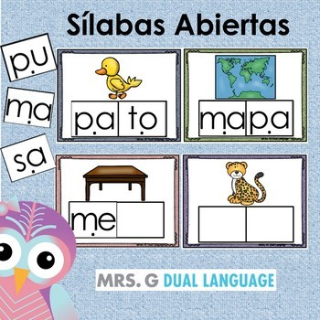 Spanish Syllables. Sílabas abiertas
