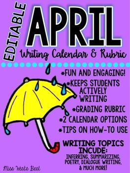 April 2016 Calendar Writing Prompts