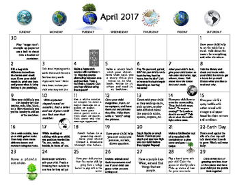 April 2017- Early Learning Calendar