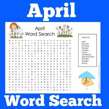 April Activity | April Word Search