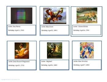 April Artists' Birthdays Calendar