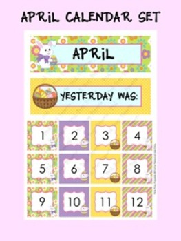 April Calendar Set - Numbers - Days of the Week