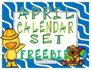 April Calendar Set Freebie