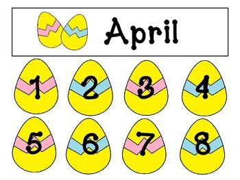 April Calendar title and numbers