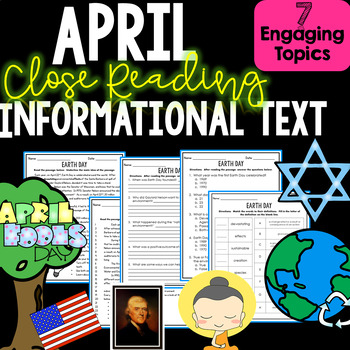 April Close Reading Informational Non-fiction Text - Compr
