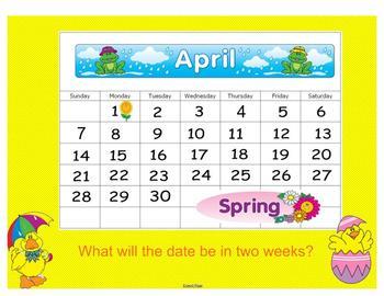 April~ Common Core Calendar for the Smartboard