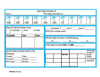 April Daily Number-2 Different Levels-2nd Grade
