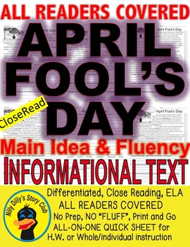 April Fool's Day Facts Close Read 5 levels Jokes, Hoaxes,