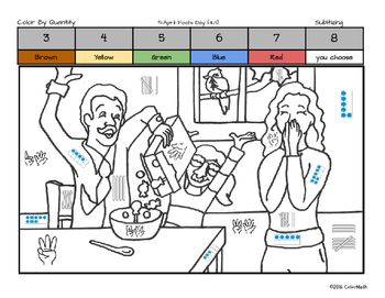 April Fool's Day Math Skills Coloring Page