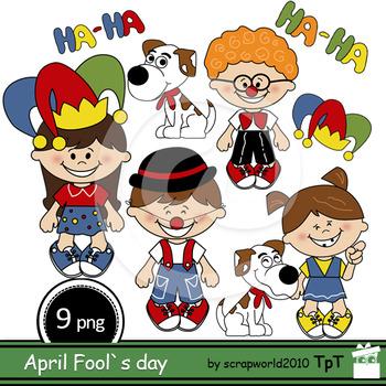 April Fool's Day clip art Bundle +Black white clipart outl