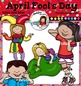 April Fool's Day clip art. Color and B&W