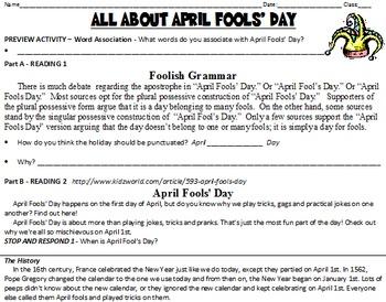 April Fools' Day - 10 Activities - functional/informative
