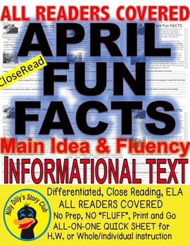 April Fun FACTS Close Read Article 5 level Passages Differ