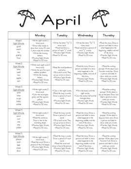 April Homework packet for Kindergarten / First Grade