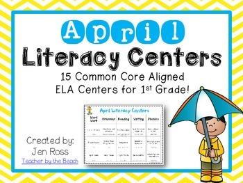 April Literacy Centers Menu {Common Core Aligned} Grade 1