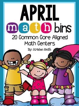 April Math Bins- 20 Common Core Aligned Math Centers