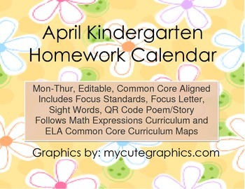 April Mon.-Thur. Editable Common Core Kindergarten 4 Week