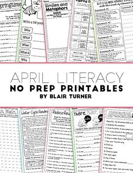 April NO PREP Literacy Printables