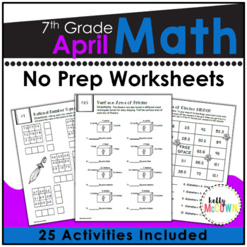 April NO PREP Math Packet - 7th Grade