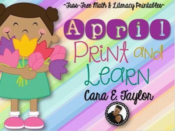 April Print and Learn ~ No Prep Math and Literacy Printables