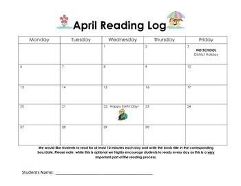 April Reading Log / Calendar