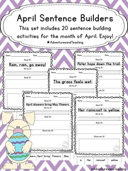 April Sentence Builders {morning work, word work, daily 5,
