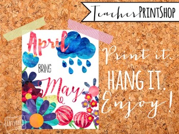 April Showers quote Watercolor Print poster