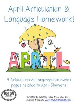 April Speech & Language Homework Freebie!