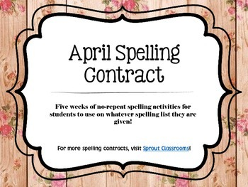 April Spelling Contracts-5 Weeks