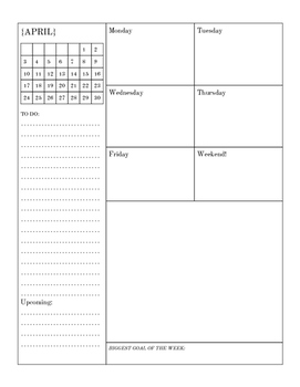 April and May Weekly Planner Sample
