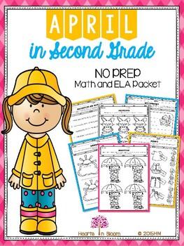 April in Second Grade (NO PREP Math and ELA Packet)