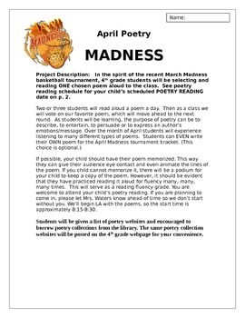 April is Poetry Madness - A Poetry Reading Tournament for