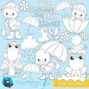 April showers stamps commercial use, vector graphics, imag