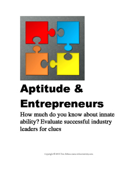 Entrepreneurs and Their Aptitudes: Printable, Q and A, Res