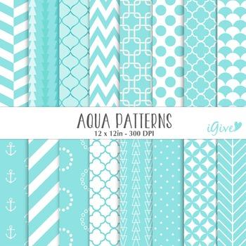 Aqua Blue Digital Geometrical Background - Aqua Papers