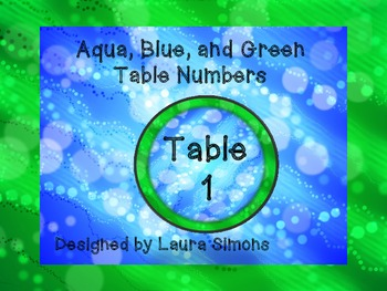 Aqua, Blue, and Green Table Numbers