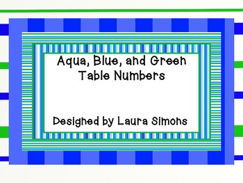 Aqua, Blue, and Green Table Numbers set 2