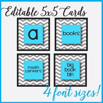 Aqua Chevron Editable 5x5 Cards