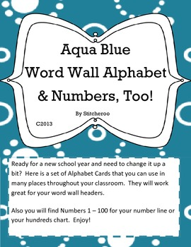 Aqua Dotty Alphabet and Numbers