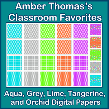 Aqua, Grey, Lime, Tangerine and Orchid Digital Papers