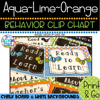 Aqua, Lime & Orange Behavior Clip Chart: Mix & Match Chalk