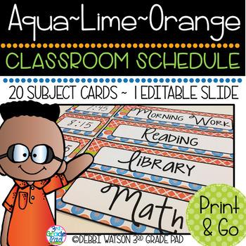 Aqua, Lime & Orange Classroom Schedule Cards with Editable