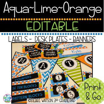 Aqua, Lime & Orange Editable Labels Mix & Match Chalkboard