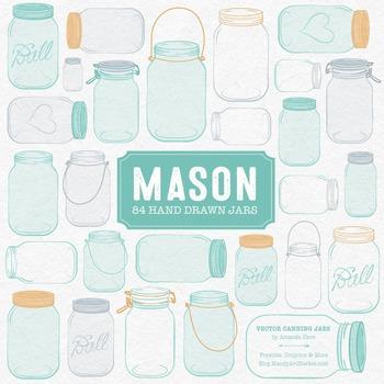 Aqua Mason Jars Clipart & Vectors - Ball Jar Clipart