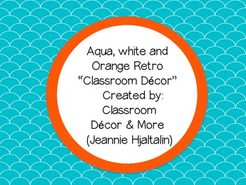 Aqua, Orange & White Retro