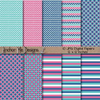 Aqua, Pink & Blue Chevron, Polka Dot & Striped Papers for