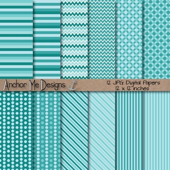 Cool Blue Chevron, Polka Dot & Striped Papers for Backgrou