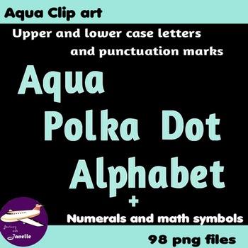 Aqua Polka Dot Alphabet Clip Art + Numerals, Punctuation a