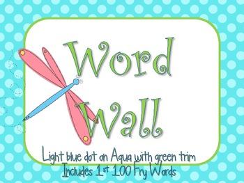 Aqua Word Wall with 100 Fry Words